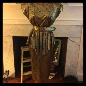 Vintage 80's Glam Gold Silky Print Peplum Dress
